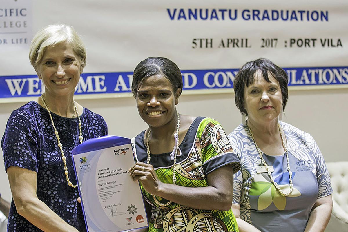 ECEC graduate Sophia George receiving her certificate from Australian High Commissioner to Vanuatu, Ms Jenny Da Rin