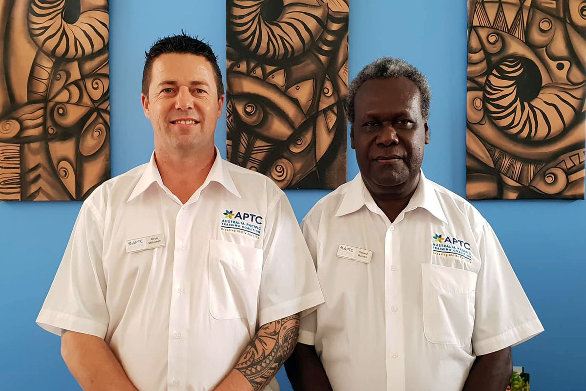 From left- APTC Vocational Training Manager - Solomon Islands, Mr Glyn Milhench and APTC Country Director for Solomon Islands and Kiribati, Mr Donald Malasa