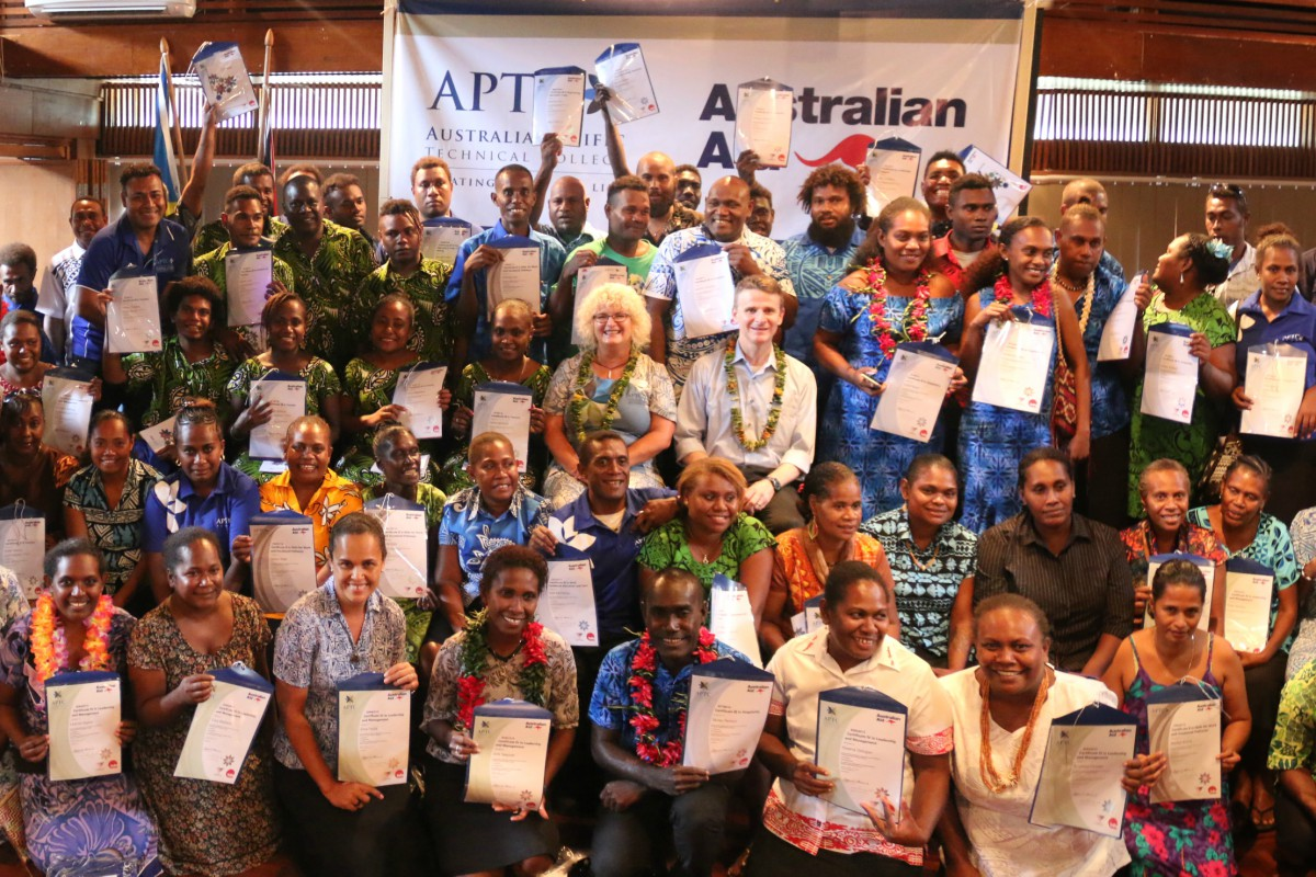 Official group photo of the graduates in Honiara