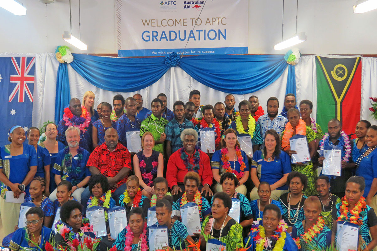 The new graduates at the APTC graduation ceremony in Vanuatu