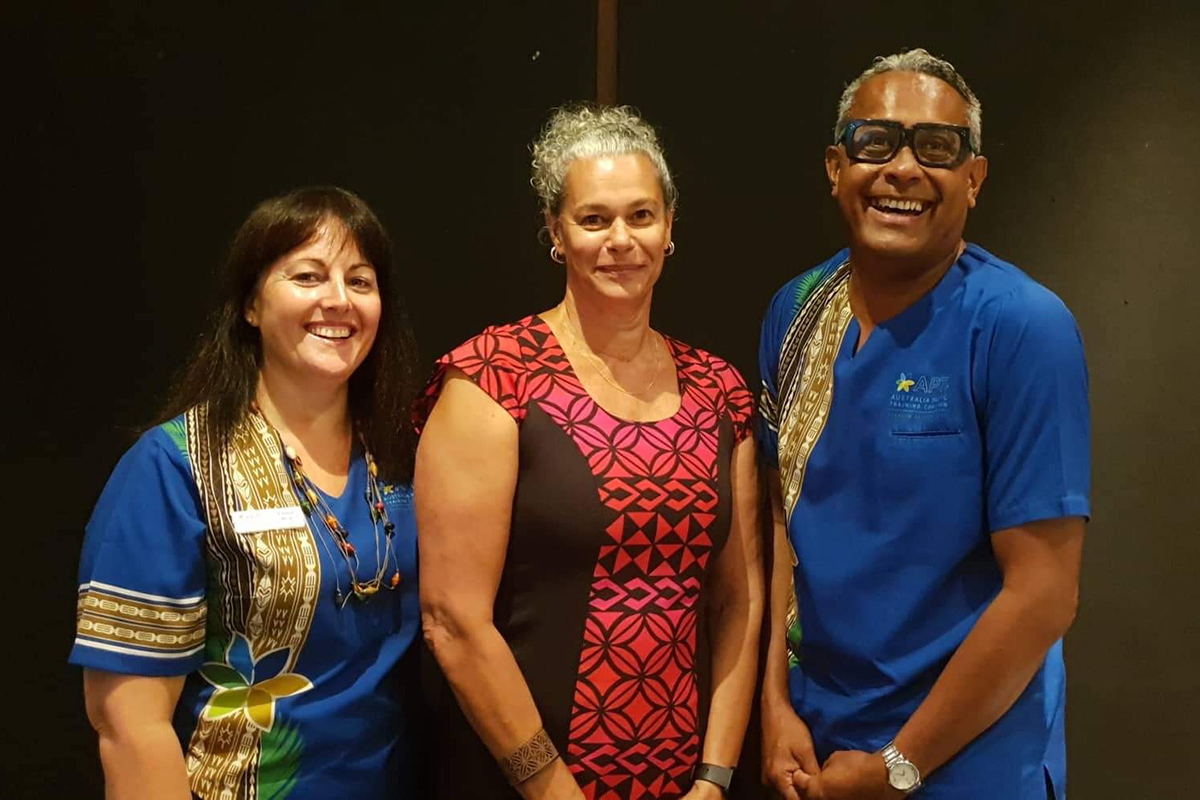 WEB APTC Country Director for Fiji and Tuvalu, Jovesa Saladoka (right) and Vocational Training Manager for Fiji and Tuvalu, Emma Rice (left) with Fiji Higher Education Commission Dire