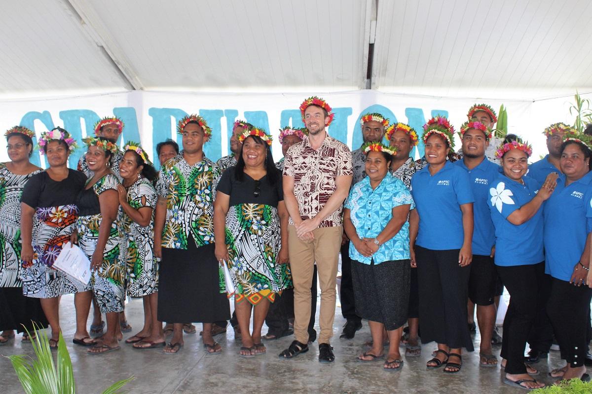 APTC graduates with the Australian High Commissioner to Kiribati, His Excellency David Yardley, during their graduation ceremony in Kiribati