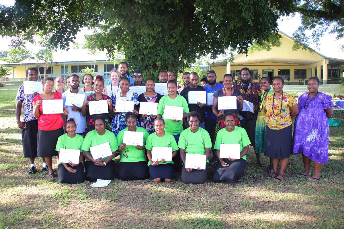 Workshop participants with their trainer Eunice David and invited guests